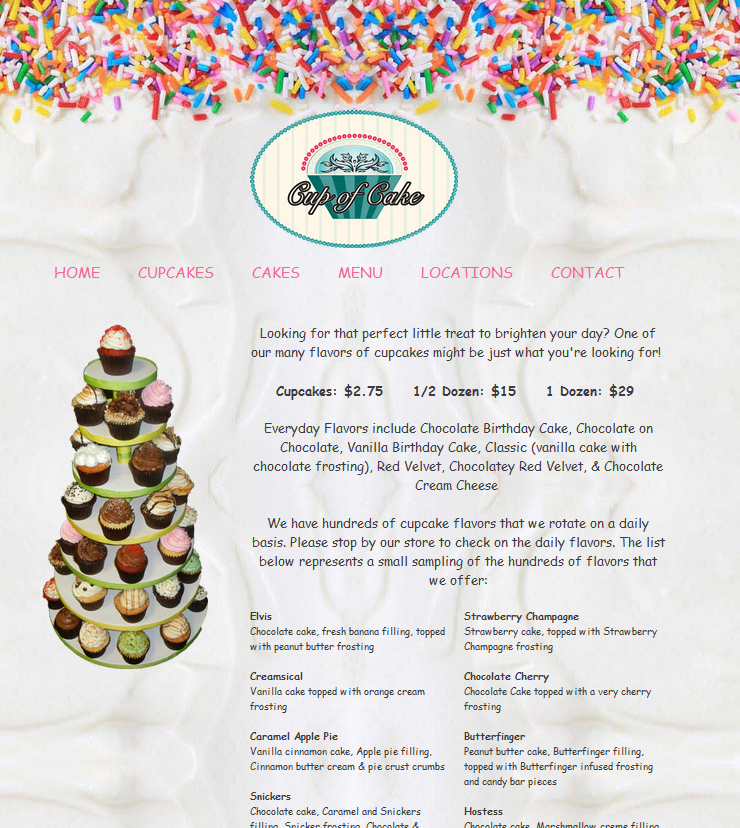 Cup Of Cake Chicago Bakery Website Design Simple SEO Group