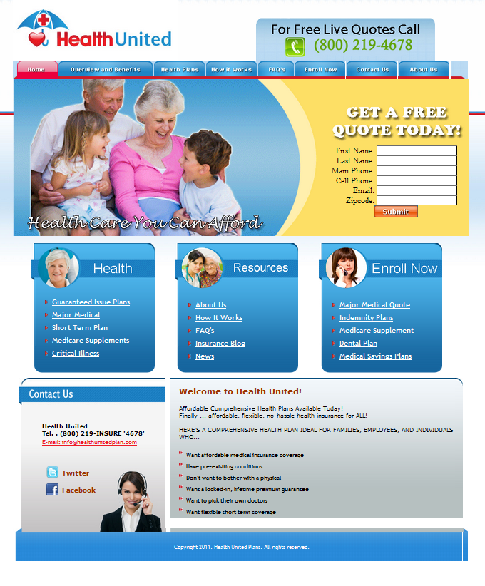 Healthunited Insurance Website Design Simple Seo Group